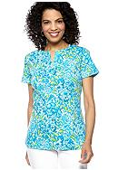 Kim Rogers® Short Sleeve Split Neck Bio Roses Tee