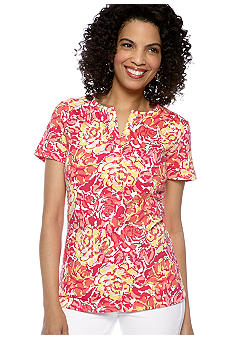 Kim Rogers Short Sleeve Split Neck Bio Roses Tee