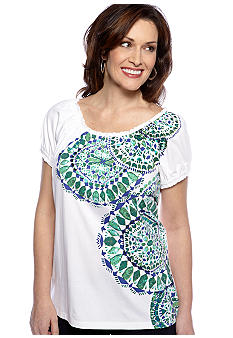 Kim Rogers Short Sleeve Mosaic Peasant Top