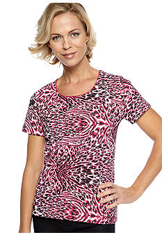 Kim Rogers Scoop Neck Animal Print Tee