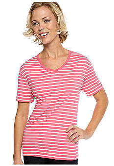 Kim Rogers Short Sleeve Interlock Stripe V-Neck