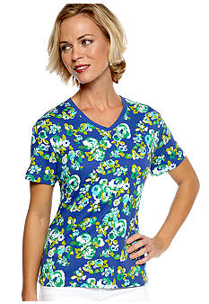 Kim Rogers Short Sleeve Interlock V-Neck Rose Print