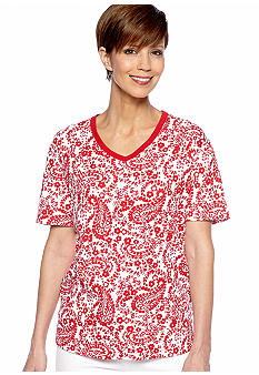 Kim Rogers V- Neck Paisley Top
