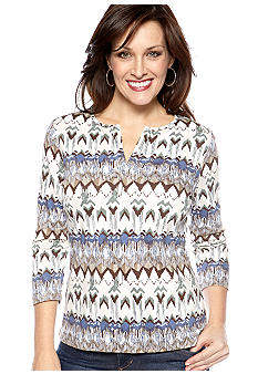 Kim Rogers Three Quarter Sleeve Split Neck Top