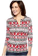 Kim Rogers® Three Quarter Sleeve Split Neck Top