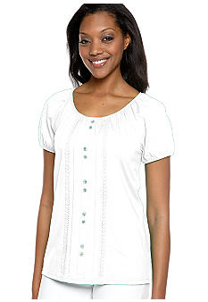 Kim Rogers Peasant Top With Faux Button Front and Crochet Trim