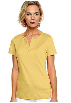 Kim Rogers Short Sleeve Split Neck Top