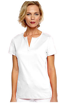 Kim Rogers® Short Sleeve Split Neck Top