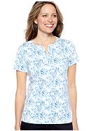 Kim Rogers® Short Sleeve Splitneck Animal Print Top