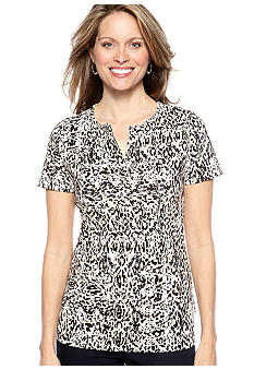 Kim Rogers Short Sleeve Split Neck Bio-Polished Internlock Tee