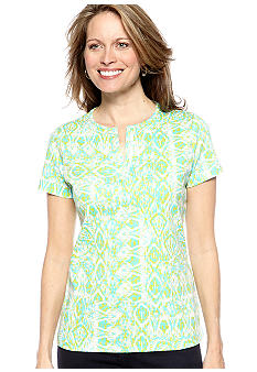 Kim Rogers® Short Sleeve Split Neck Bio-Polished Internlock Tee