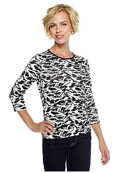 Kim Rogers Rib Wildcat Crew Neck Top