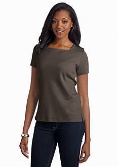 Kim Rogers Solid Square Neck Top