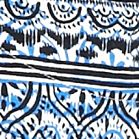 Kim Rogers Women Sale: Blue/Black Kim Rogers Three Quarter Sleeve Peasant Printed Top