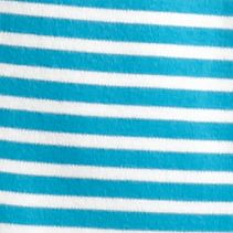 Women's T-shirts: Turquoise/White Kim Rogers Striped Crew Neck Tee