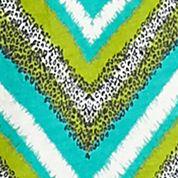 Women's T-shirts: Turquoise/Green Kim Rogers Chevron Print Peasant Blouse