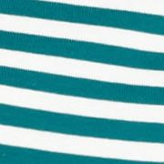 Kim Rogers: Teal/Ivory Kim Rogers Stripe Three Quarter Sleeve Tee