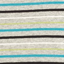 Knit Tops for Women: Grey/Lime/Black Kim Rogers Three Quarter Sleeve Ribbed V Neck Striped Shirt