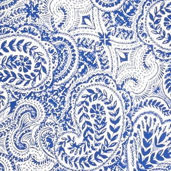 Knit Tops for Women: Ivory/Blue Kim Rogers Long Sleeve Paisley Printed Top