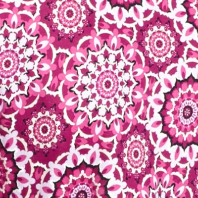 Women's T-shirts: Pink Combo Kim Rogers Three Quarter Sleeve Square Neck Festival Medal Knit Top