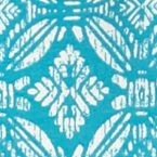 Women's T-shirts: Turquoise/ Ivory Kim Rogers Long Sleeve Tile Wash Printed Top