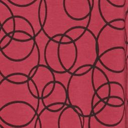 Women's T-shirts: Red/Black Kim Rogers Long Sleeve Jewel Neck Circular Print Top