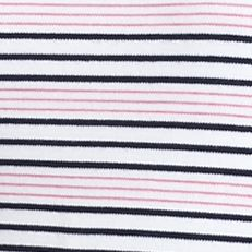 Kim Rogers Women Sale: Pink/Navy/White Kim Rogers Stripe Interlock V-Neck Top