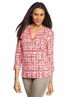 Kim Rogers Bold Print Pocketed Henley Top