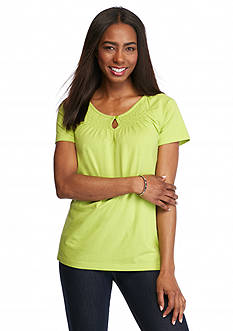 Kim Rogers Solid Keyhole Peasant Top