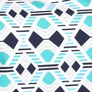 Kim Rogers Women Sale: Turquoise/Navy Kim Rogers Rio Geometric Print Knit Top