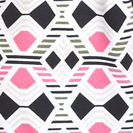 Kim Rogers Women Sale: Pink/Black Kim Rogers Rio Geometric Print Knit Top