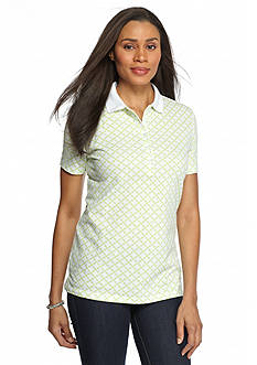 Kim Rogers Lattice Geometric Print Polo Shirt