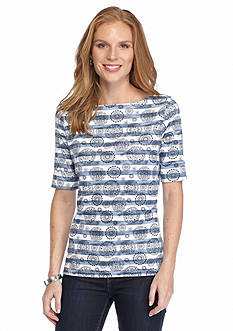Kim Rogers Stripe Medallion Top