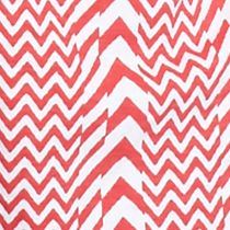 Kim Rogers Women Sale: Coral/White Kim Rogers Split Neck Chevron Print Top