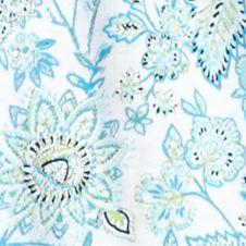 Kim Rogers Women Sale: Turq Combo Kim Rogers Short Sleeve Peasant Bordered Floral Print Top