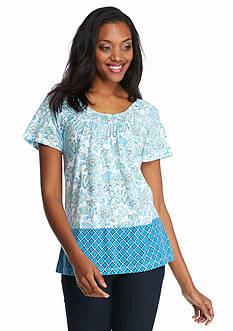 Kim Rogers Short Sleeve Peasant Bordered Floral Print Top