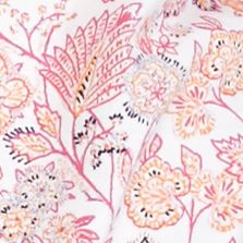 Kim Rogers Women Sale: Pink Combo Kim Rogers Short Sleeve Peasant Bordered Floral Print Top