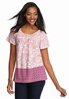 Kim Rogers Short Sleeve Peasant Bordered Floral Print Top