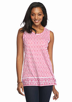 Kim Rogers Sleeveless Tunic with Stripe Border
