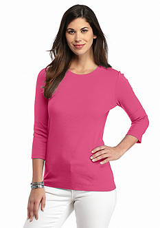Kim Rogers Ribbed Crew Neck Solid Top