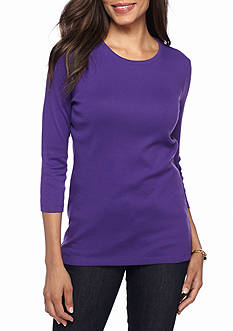 Kim Rogers Ribbed Crew Neck Solid Knit Top