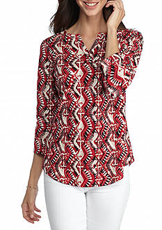 Kim Rogers Printed Split Neck Knit Top