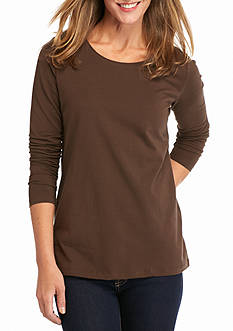 Kim Rogers Long Sleeve Solid Crew Neck Top