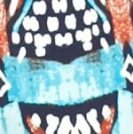 Kim Rogers Women Sale: Turq/Rust Kim Rogers Long Sleeve Crew Neck Knit Top