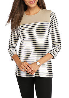 Kim Rogers Ribbed Colorblock Crew Neck