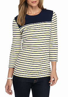 Kim Rogers Three-Quarter Sleeve Stripe Top