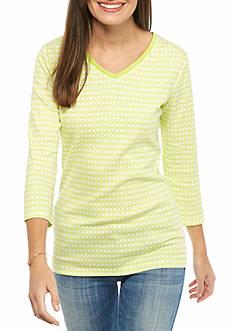 Kim Rogers Three Quarter Sleeve Rib Knit V-Neck Top