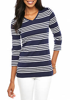 Kim Rogers Three-Quarter Sleeve Stripe V-Neck Top