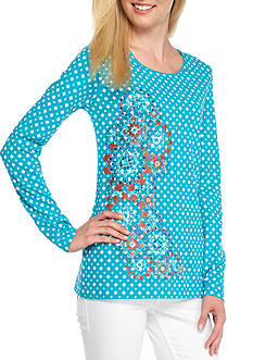 Kim Rogers Long Sleeve Check Pattern Crew Neck Top