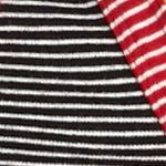 Kim Rogers Women Sale: Black/Ivory/Red Kim Rogers Henley Mix Stripe Knit Top